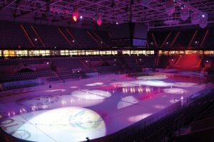 Lichtsystem auf das Eis fabriziert